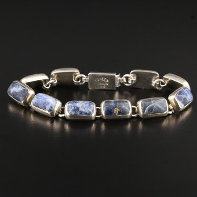 Mexican Sterling Silver Sodalite Link Bracelet