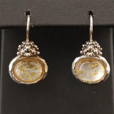 Michael Dawkins Quartz and Mother of Pearl Doublet Earrings