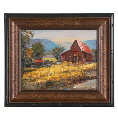 Field and Farmhouse Impasto Acrylic Painting