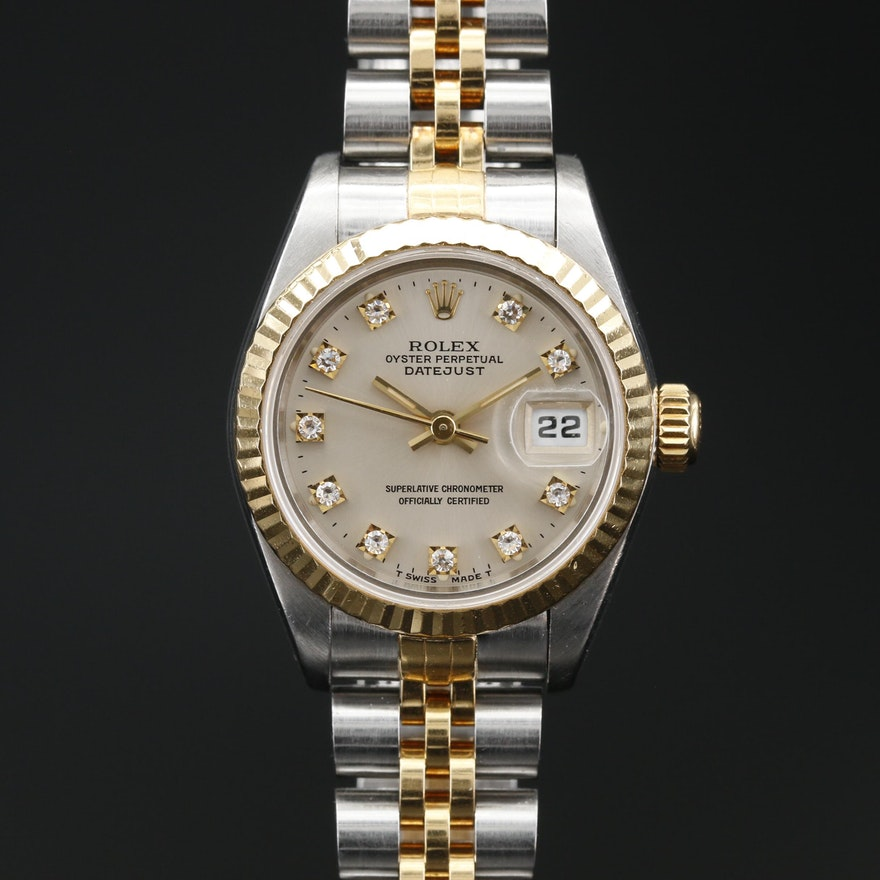 1994 Rolex Datejust 18K, Stainless Steel and Factory Diamond Dial Wristwatch