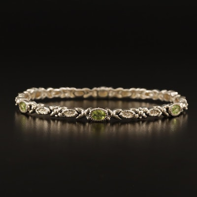 Sterling Peridot and Cubic Zirconia Oval Bangle