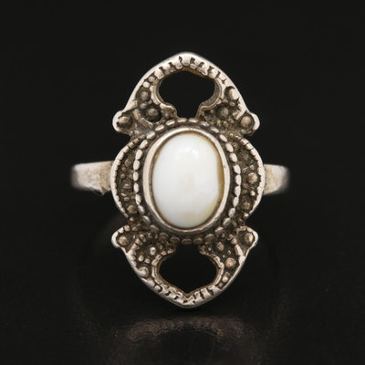 Sterling Oval White Glass Cabochon Ring
