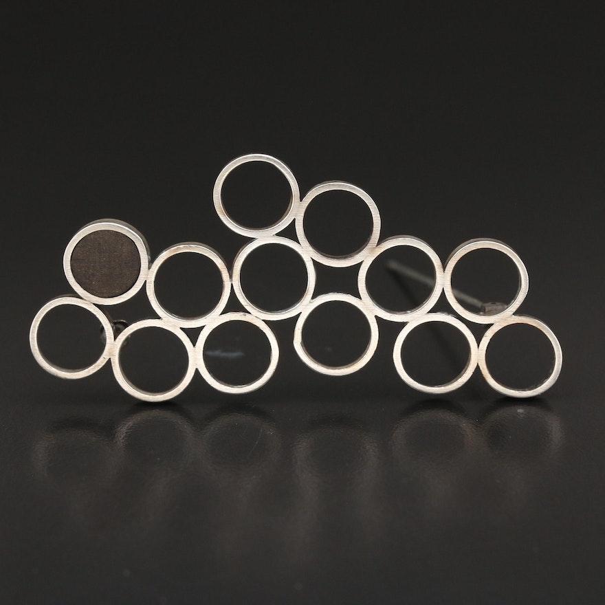 Sterling Resin Geometric Brooch