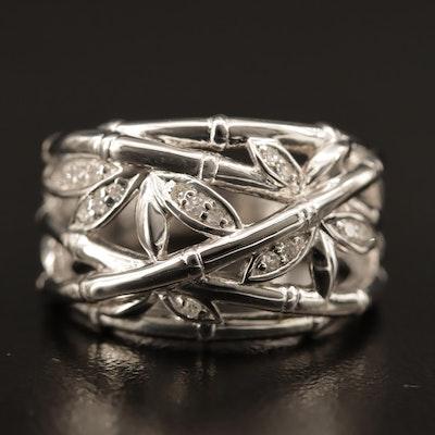 Sterling Diamond Bamboo Motif Ring