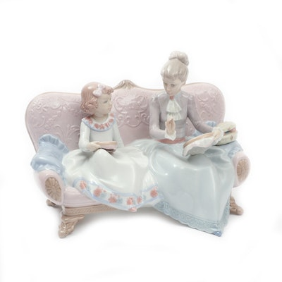 """Lladro """"An Embroidery Lesson"""" Porcelain Figurine Designed by Regino Torrijos"""