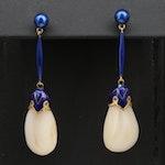 Vintage 18K Mother of Pearl and Enamel Drop Earrings
