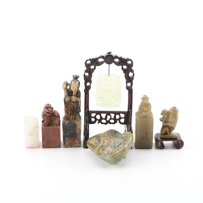 Asian Motif Carved Nephrite, Agate and Onyx Hanko Stamps and Figurines