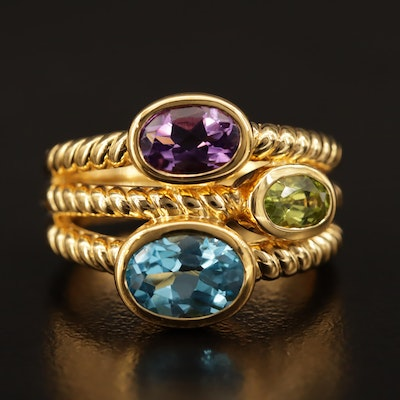 Sterling Silver Bezel Set Blue Topaz, Amethyst and Peridot Ring with Cable Motif