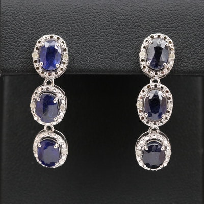 Sterling Silver Corundum and Diamond Drop Earrings