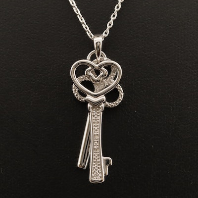 Sterling Silver Diamond Double Key Pendant Necklace