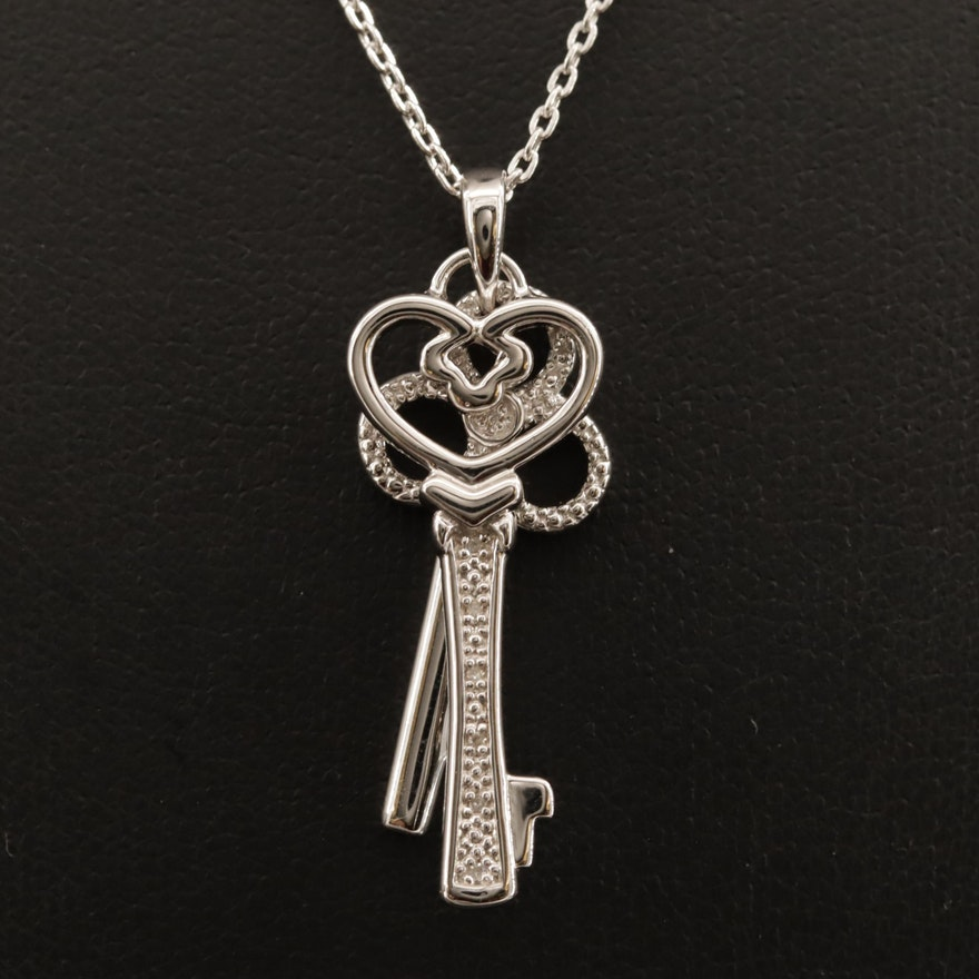 Sterling Silver Diamond Double Key Pendant Necklace