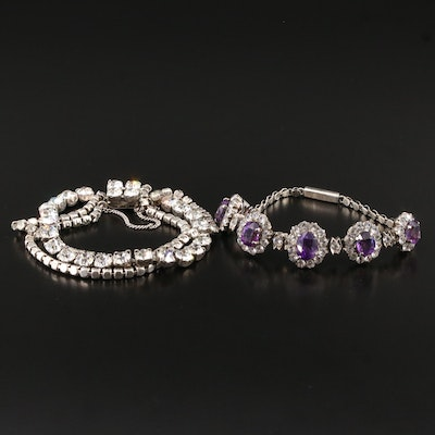 Vintage Sterling Silver Bracelets Featuring Amethyst and White Sapphire