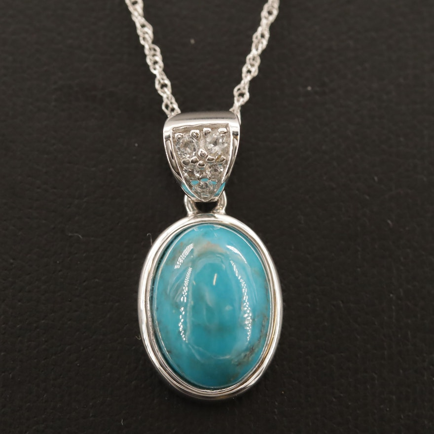 Sterling Silver Turquoise and White Topaz Oval Pendant Necklace