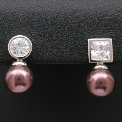 Sterling Silver Pearl and Cubic Zirconia Asymmetrical Earrings