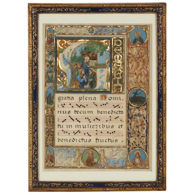 Italian Antiphonal Illuminated Manuscript Leaf on Vellum, Renaissance
