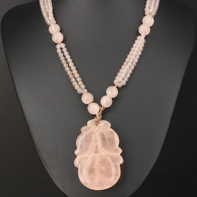 Beaded and Carved Rose Quartz Necklace