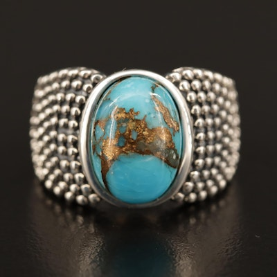 Michael Dawkins Sterling Silver Chrysocolla Ring with Granulation Pattern