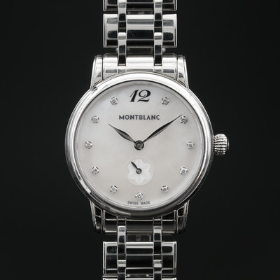 """Montblanc """"Classique"""" Diamond and Mother of Pearl Stainless Steel Wristwatch"""