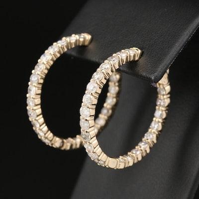 14K 4.70 CTW Diamond Inside Out Hoop Earrings
