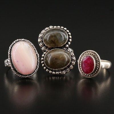 Collection of Rings with Agate, Sillimanite and Nephrite