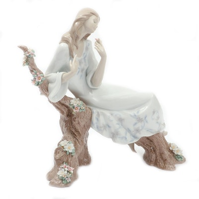 Lladró Porcelain Figurine of Woman on Flowering Branch, 2002