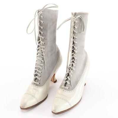 Two-Tone Leather Lace-Up Boots, Antique