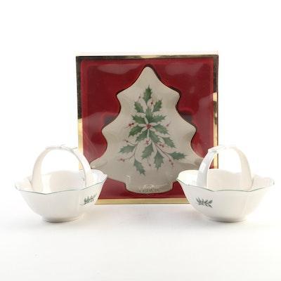 "Lenox Porcelain ""Holiday"" and Nikko ""Christmastime"" Porcelain Candy Dishes"