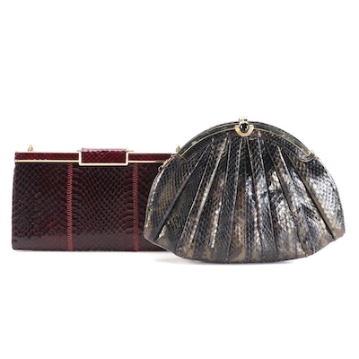 Snakeskin Frame Purse and Clutch with Chain Strap