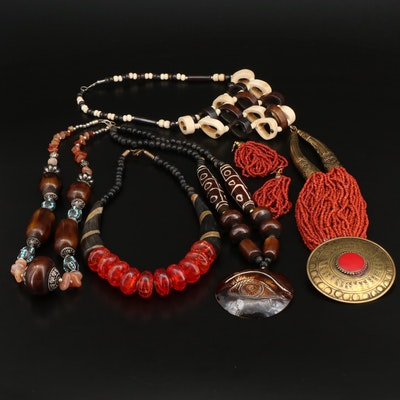 Statement Necklaces Featuring Dzi Tibetan Beads, Handmade Pieces and Bone