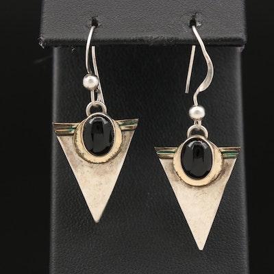 Sterling Black Onyx Dangle Earrings
