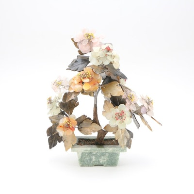 Chinese Gemstone Flowering Bonsai Tree, 20th Century