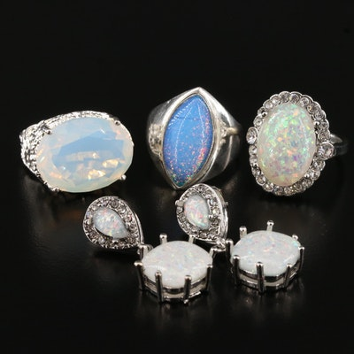 Sterling Silver Rings and Earrings with Opal and Faux Opal