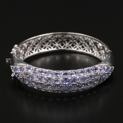 Sterling Tanzanite Hinged Bangle Bracelet