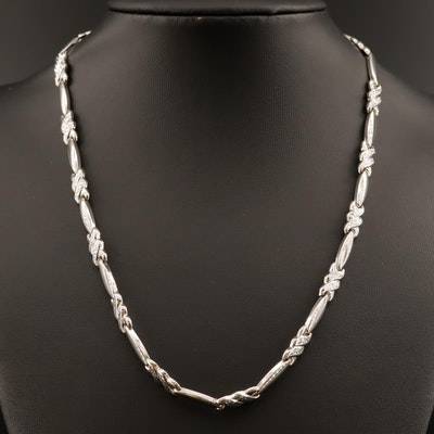 14K Link Necklace with Diamond Cut Accents