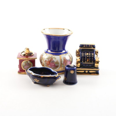 Josef Kuba Porcelain Vase with Hand-Painted Limoges Porcelain Décor