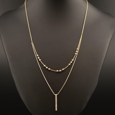 14K Necklace with Diamond Cut Beads