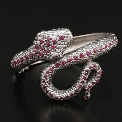 Sterling Ruby Coiled Snake Bracelet