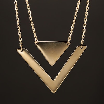 14K Chevron Cable Link Necklace