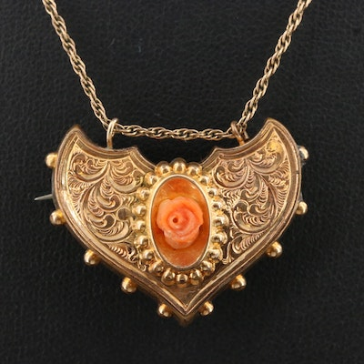 Victorian Converter Brooch Necklace with Carved Coral Rose Accent