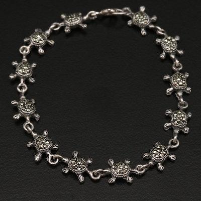 Sterling Marcasite Turtle Bracelet