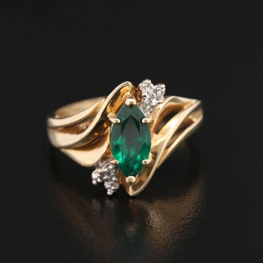 10K Emerald Ring with Diamond Accents