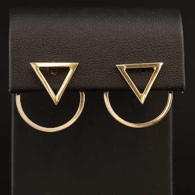 14K Triangle and Circle Earrings