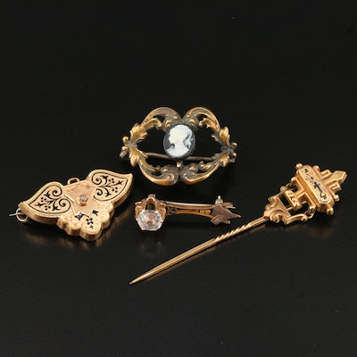 Collection of Jewelry Including Victorian Taille d'Epargne Brooch and Stick Pin