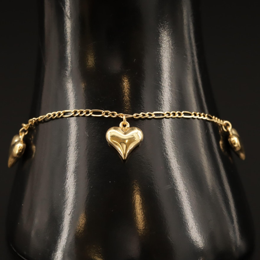 14K Figaro Link Bracelet with Heart Charms