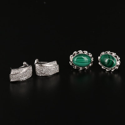 Sterlign Silver Oval Malachite and Rectangular Cubic Zirconia  Earrings