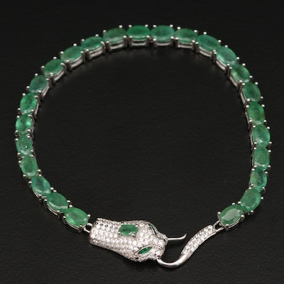 Sterling Emerald and Cubic Zirconia Serpent Head Bracelet