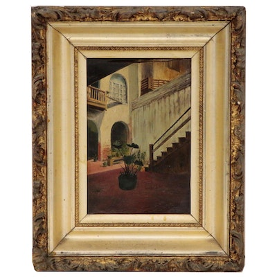 Charles Morris Cox Oil Painting of Courtyard, Mid to Late 19th Century