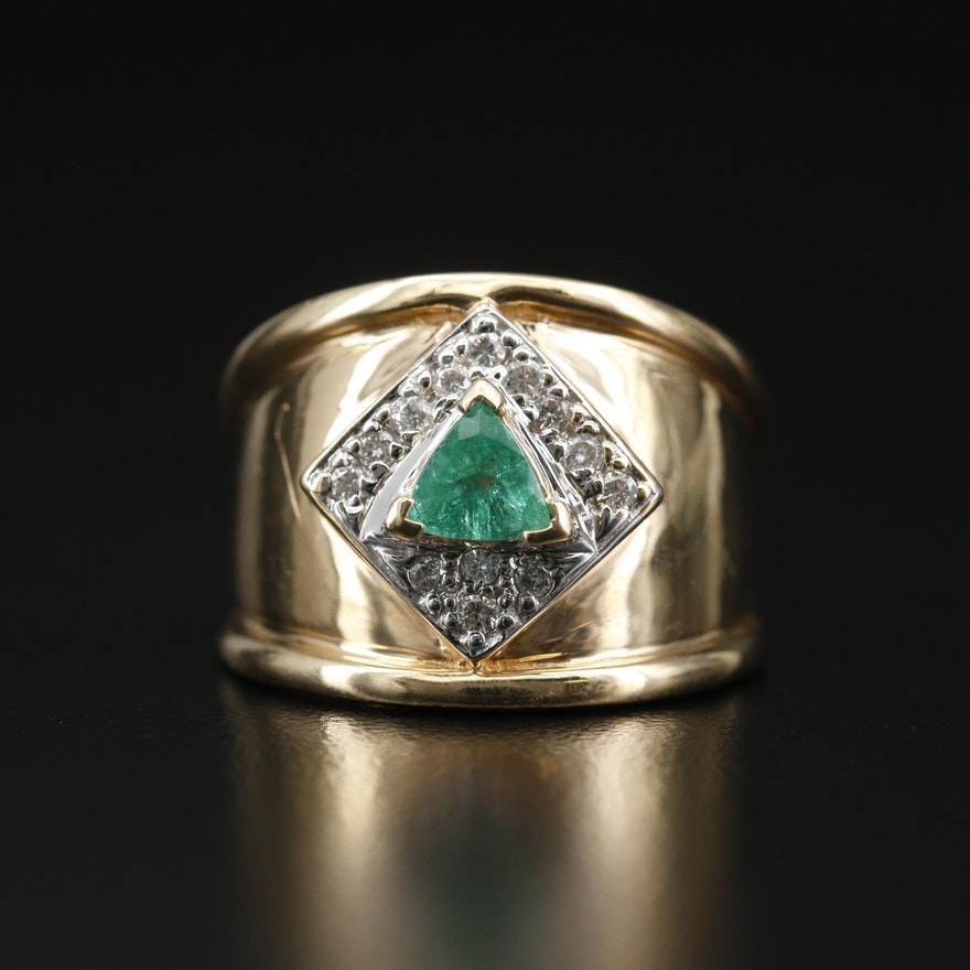 14K Trillion Faceted Emerald and Diamond Ring