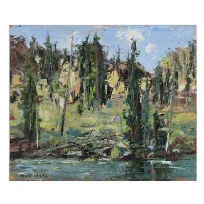 Stephen Hedgepeth Oil Painting of Wooded Landscape with River, 21st Century