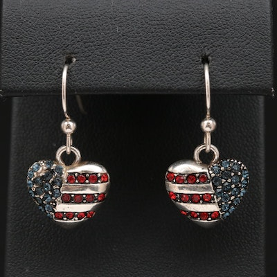 Sterling Silver Heart Shaped American Flag Earrings with Glass Accents
